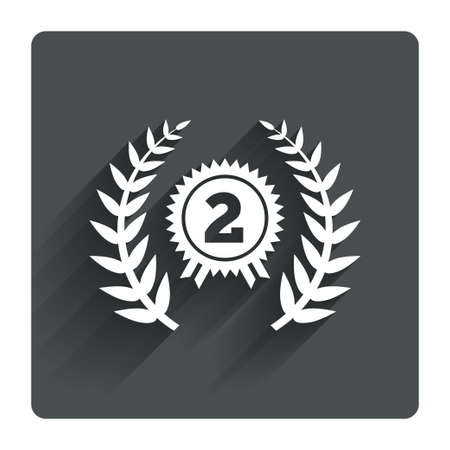 second prize: Second place award sign icon. Prize for winner symbol. Laurel Wreath. Gray flat square button with shadow. Modern UI website navigation. Vector Illustration