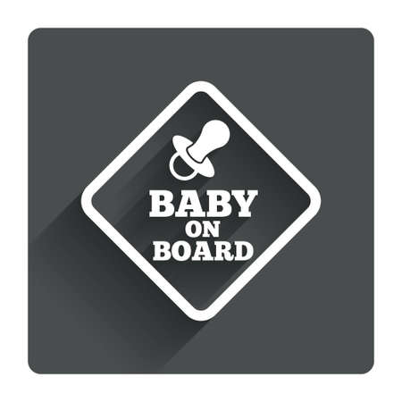 Baby on board sign icon. Infant in car caution symbol. Baby pacifier nipple. Gray flat square button with shadow. Modern UI website navigation. Vector Vector