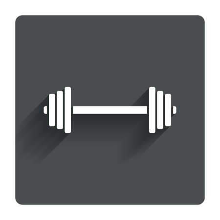 circular muscle: Barbell sign icon. Muscle lifting symbol. Gray flat square button with shadow. Modern UI website navigation. Vector