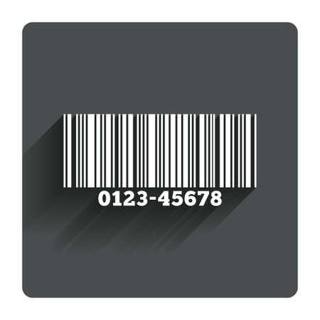 navigation bar: Bar code sign icon. Scan code symbol. Gray flat square button with shadow. Modern UI website navigation. Vector Illustration