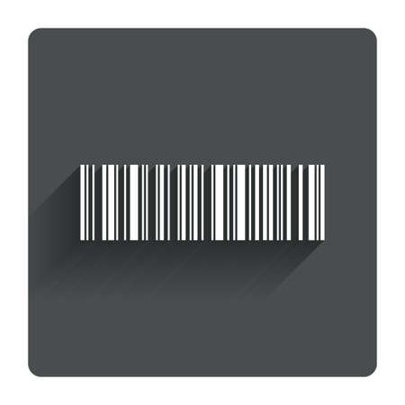 coded: Bar code sign icon. Scan code symbol. Coded word - success! Gray flat square button with shadow. Modern UI website navigation. Vector