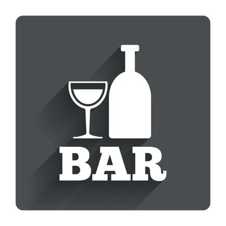 tartaric: Bar or Pub sign icon. Wine bottle and Glass symbol. Alcohol drink symbol. Gray flat square button with shadow. Modern UI website navigation. Vector