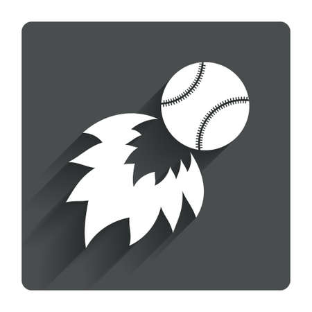 Baseball fireball sign icon. Sport symbol. Gray flat square button with shadow. Modern UI website navigation. Vector Vector