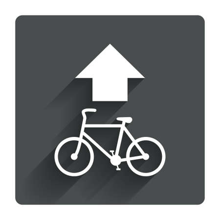 straight path: Bicycle path trail sign icon. Cycle path. Up straight arrow symbol. Gray flat square button with shadow. Modern UI website navigation. Vector