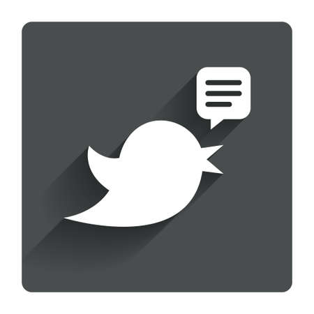 twitter: Bird icon. Social media sign. Short messages twitter retweet symbol. Speech bubble. Gray flat square button with shadow. Modern UI website navigation. Vector