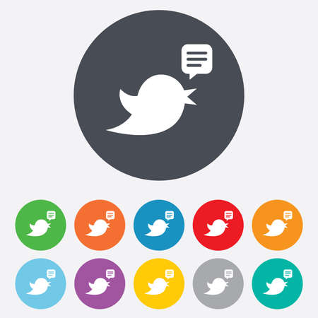 Bird icon. Social media sign. Short messages twitter retweet symbol. Speech bubble. Round colourful 11 buttons. Vector