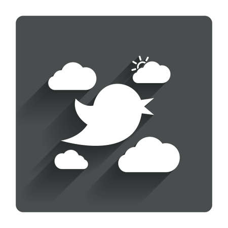 twitter: Bird icon. Social media sign. Short messages twitter retweet symbol. Clouds with sun. Gray flat square button with shadow. Modern UI website navigation. Vector