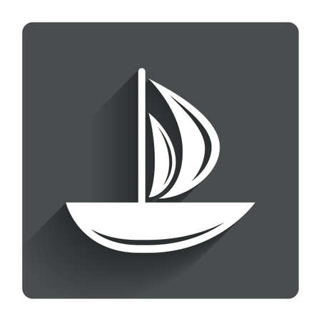 ship sign: Sail boat icon. Ship sign. Shipment delivery symbol. Gray flat square button with shadow. Modern UI website navigation. Vector