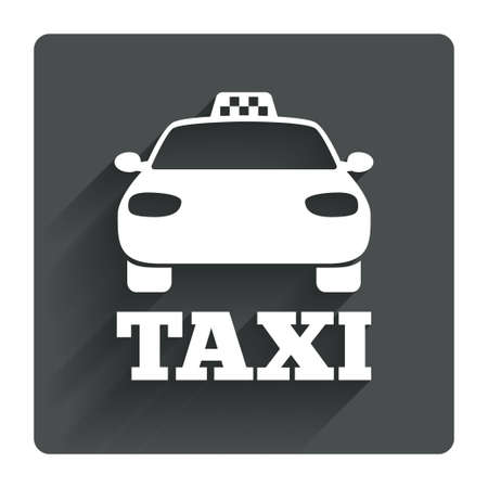 Taxi car sign icon. Public transport symbol. Gray flat square button with shadow. Modern UI website navigation. Vector Vector