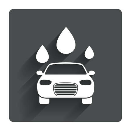 automated teller: Car wash icon. Automated teller carwash symbol. Water drops signs. Gray flat square button with shadow. Modern UI website navigation. Vector