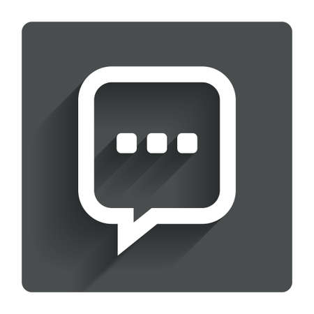 three dots: Chat sign icon. Speech bubble with three dots symbol. Communication chat bubble. Gray flat square button with shadow. Modern UI website navigation. Vector Illustration