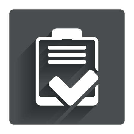 feedback form: Checklist sign icon. Control list symbol. Survey poll or questionnaire feedback form. Gray flat square button with shadow. Modern UI website navigation. Vector Illustration