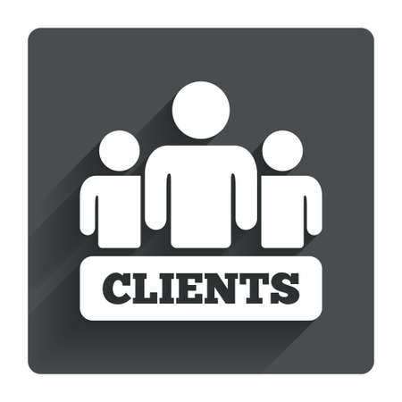 customers: Clients sign icon. Group of people symbol. Gray flat square button with shadow. Modern UI website navigation. Vector