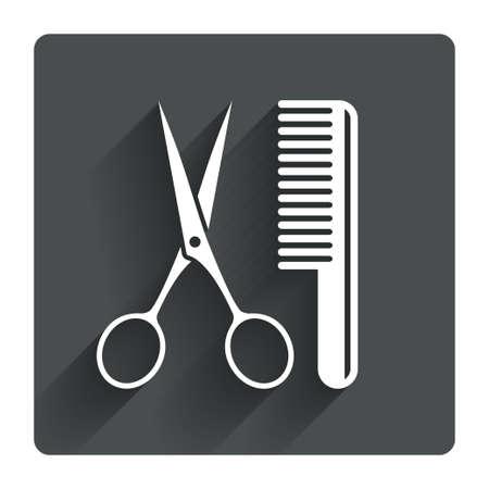 comb hair: Pettine capelli con le forbici sign icon. Simbolo Barber. Grigio tasto quadrato piatto con ombra. Sito web UI navigazione moderna. Vettore Vettoriali