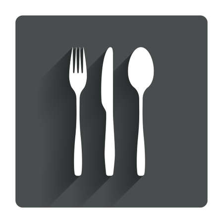 fork knife: Fork, knife, tablespoon sign icon. Cutlery collection set symbol. Gray flat square button with shadow. Modern UI website navigation. Vector