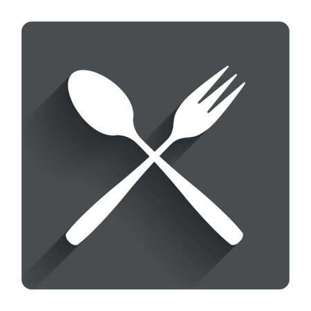 teaspoon: Eat sign icon. Cutlery symbol. Dessert fork and teaspoon crosswise. Gray flat square button with shadow. Modern UI website navigation. Vector Illustration