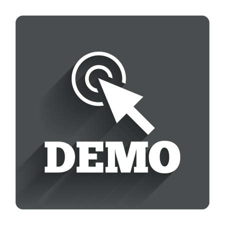 Demo with cursor sign icon. Demonstration symbol. Gray flat square button with shadow. Modern UI website navigation. Vector