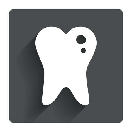 Caries tooth icon. Tooth filling sign. Dental care symbol. Gray flat square button with shadow. Modern UI website navigation. Vector Vector