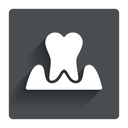 gingivitis: Parodontosis tooth icon. Gingivitis sign. Inflammation of gums symbol. Gray flat square button with shadow. Modern UI website navigation. Vector