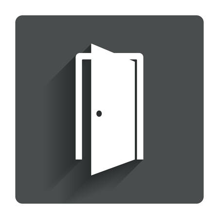 Door sign icon. Enter or exit symbol. Internal door. Gray flat square button with shadow. Modern UI website navigation. Vector Illustration