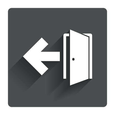 emergency exit sign icon: Emergency exit sign icon. Door with left arrow symbol. Fire exit. Gray flat square button with shadow. Modern UI website navigation. Vector
