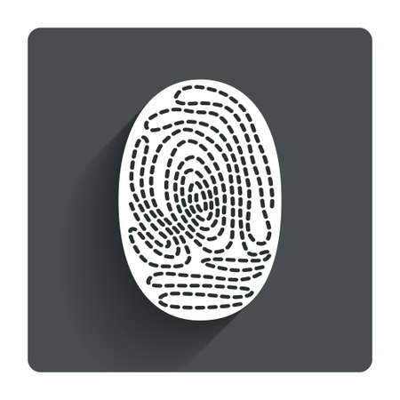 Fingerprint sign icon. Identification or authentication symbol. Gray flat square button with shadow. Modern UI website navigation. Vector