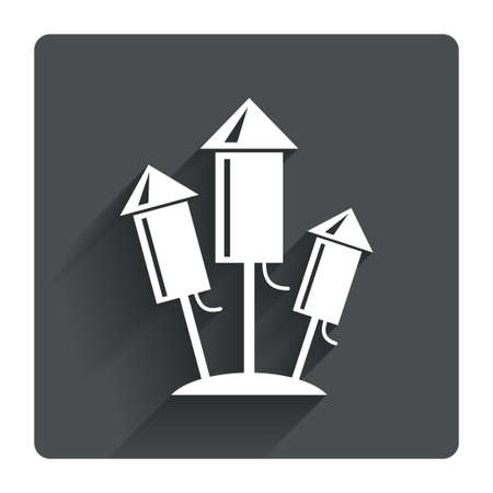 pyrotechnic: Fireworks rockets sign icon. Explosive pyrotechnic device symbol. Gray flat square button with shadow. Modern UI website navigation. Vector