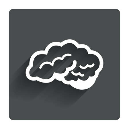 cerebellum: Brain with cerebellum sign icon. Human intelligent smart mind. Gray flat square button with shadow. Modern UI website navigation. Vector