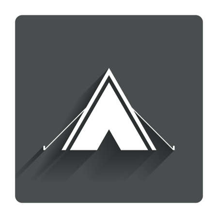 Tourist tent sign icon. Camping symbol. Gray flat square button with shadow. Modern UI website navigation. Vector Vector
