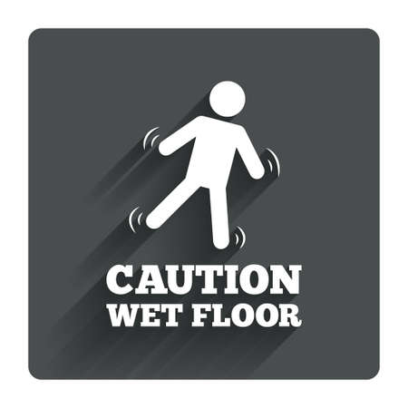 slippery floor: Caution wet floor sign icon. Human falling symbol. Gray flat square button with shadow. Modern UI website navigation. Vector