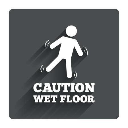 wet floor caution sign: Precauci�n h�medo icono de se�alizaci�n en el suelo. S�mbolo caer humano. Gris bot�n cuadrado plano con la sombra. Modern sitio web de la interfaz de usuario de navegaci�n. Vector