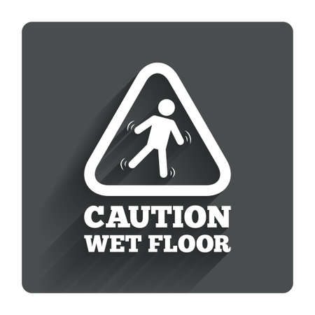 wet floor caution sign: Caution wet floor sign icon. Human falling triangle symbol. Gray flat square button with shadow. Modern UI website navigation. Vector Illustration
