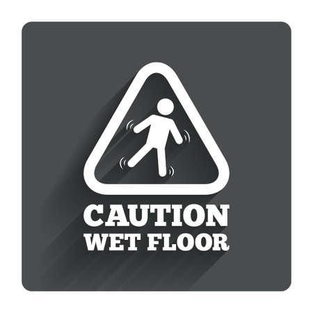 wet floor caution sign: Precauci�n h�medo icono de se�alizaci�n en el suelo. Caer humano s�mbolo tri�ngulo. Gris bot�n cuadrado plano con la sombra. Modern sitio web de la interfaz de usuario de navegaci�n. Vector