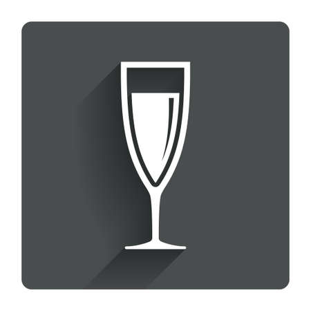 champagne celebration: Glass of champagne sign icon. Sparkling wine. Celebration or banquet alcohol drink symbol. Gray flat square button with shadow. Modern UI website navigation. Vector