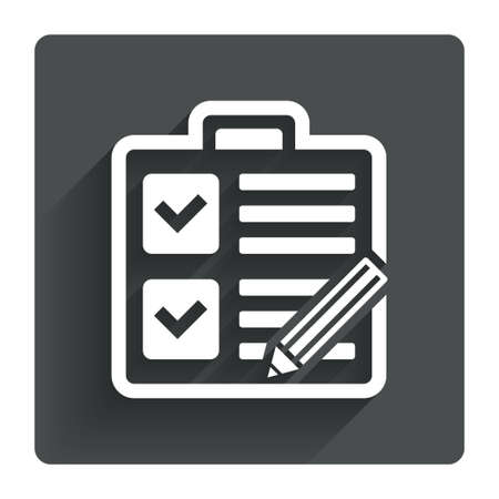 poll: Checklist with pencil sign icon. Control list symbol. Survey poll or questionnaire form. Gray flat square button with shadow. Modern UI website navigation. Vector