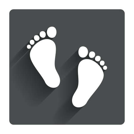 infant baby: Child pair of footprint sign icon. Toddler barefoot symbol. Babys first steps. Gray flat square button with shadow. Modern UI website navigation. Vector Illustration