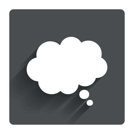 clouds cartoon: Comic speech bubble sign icon. Chat think symbol. Gray flat square button with shadow. Modern UI website navigation. Vector