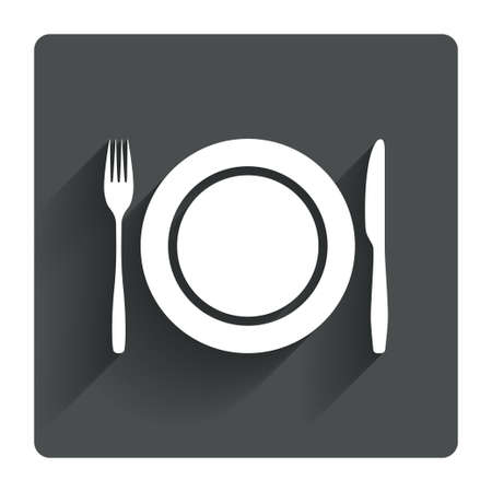 etiquette: Plate dish with fork and knife. Eat sign icon. Cutlery etiquette rules symbol. Gray flat square button with shadow. Modern UI website navigation. Vector Illustration