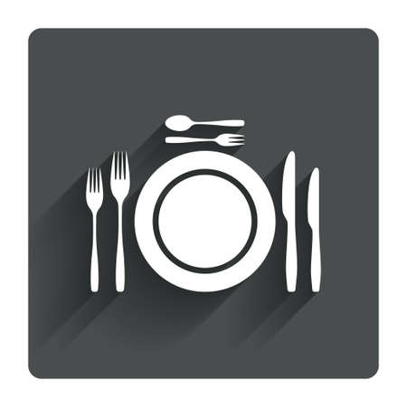 teaspoon: Plate dish with forks and knifes. Dessert trident fork with teaspoon. Eat sign icon. Cutlery etiquette rules symbol. Gray flat square button with shadow. Modern UI website navigation. Vector