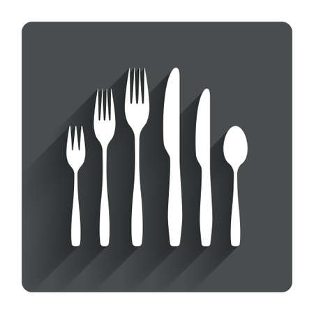 teaspoon: Dessert fork, knife, teaspoon sign icon. Cutlery collection set symbol. Gray flat square button with shadow. Modern UI website navigation. Vector