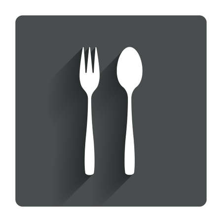 teaspoon: Eat sign icon. Cutlery symbol. Dessert fork and teaspoon. Gray flat square button with shadow. Modern UI website navigation. Vector