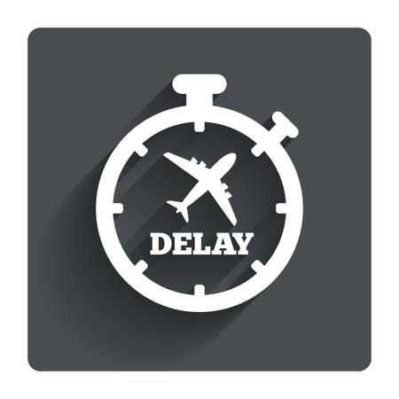 the delayed: Delayed flight sign icon. Airport delay timer symbol. Airplane icon. Gray flat square button with shadow. Modern UI website navigation. Vector Illustration