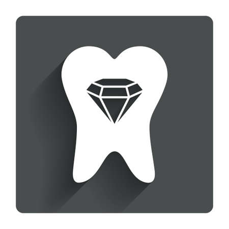Broken tooth icon. Dental care sign symbol. Gray flat square button with shadow. Modern UI website navigation. Vector Vector