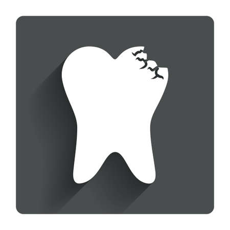 Tooth crystal icon. Tooth jewellery sign. Dental prestige symbol. Gray flat square button with shadow. Modern UI website navigation. Vector Vector