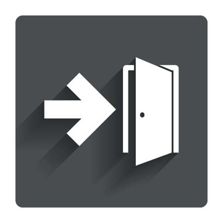 fire escape: Emergency exit sign icon. Door with right arrow symbol. Fire exit. Gray flat square button with shadow. Modern UI website navigation. Vector