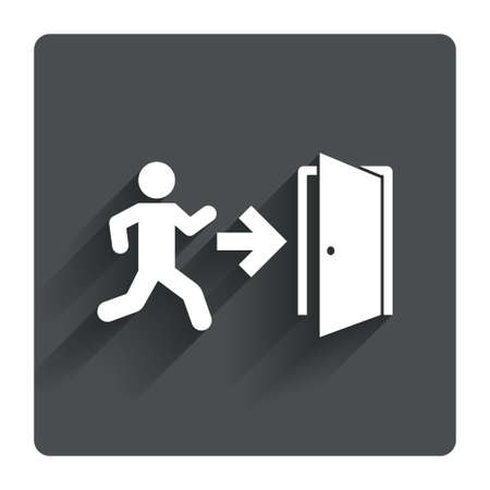 emergency exit sign icon: Emergency exit with human figure sign icon. Door with right arrow symbol. Fire exit. Gray flat square button with shadow. Modern UI website navigation. Vector Illustration