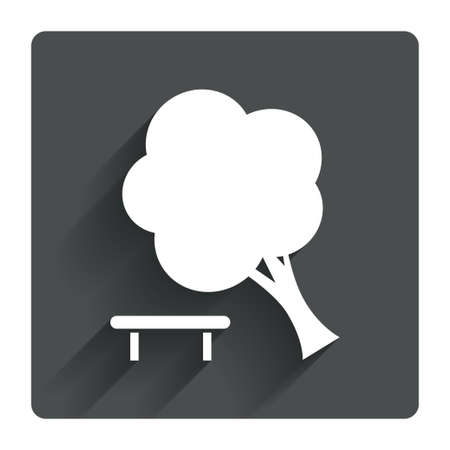 break down: Falling tree sign icon. Caution break down tree symbol. Gray flat square button with shadow. Modern UI website navigation. Vector Illustration