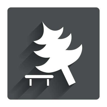 break down: Falling tree sign icon. Caution break down christmas tree symbol. Gray flat square button with shadow. Modern UI website navigation. Vector
