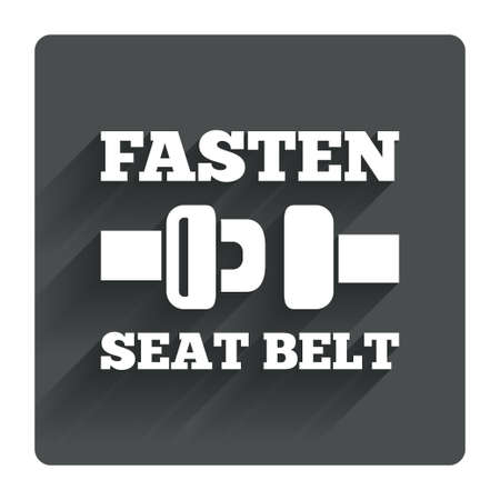 Fasten seat belt sign icon. Safety accident. Gray flat square button with shadow. Modern UI website navigation. Vector Vector