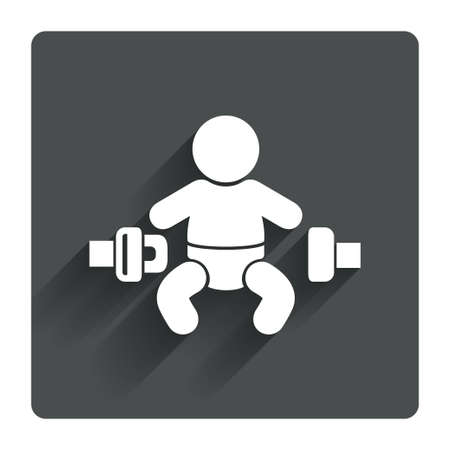 to fasten: Fasten seat belt sign icon. Child safety in accident. Gray flat square button with shadow. Modern UI website navigation. Vector